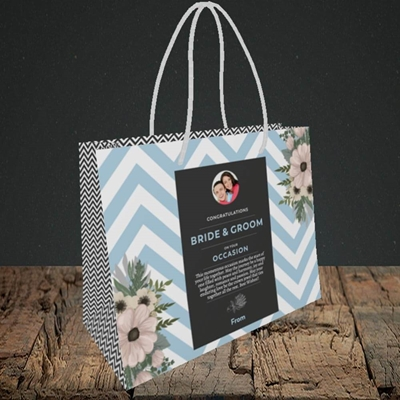 Picture of Zigzag Blue B&G, Wedding Design, Small Landscape Gift Bag