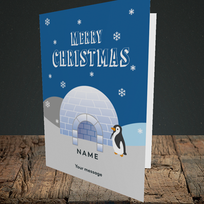 Picture of Igloo Penguin(Without Photo), Christmas Design, Portrait Greetings Card