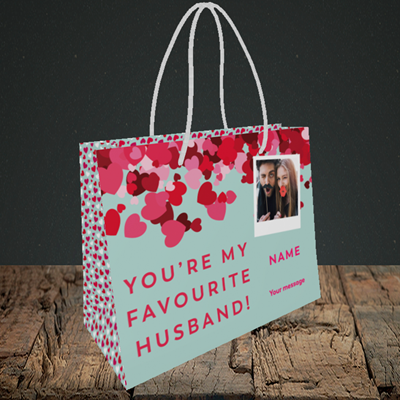 Picture of Favourite Husband, Valentine's Design, Small Landscape Gift Bag