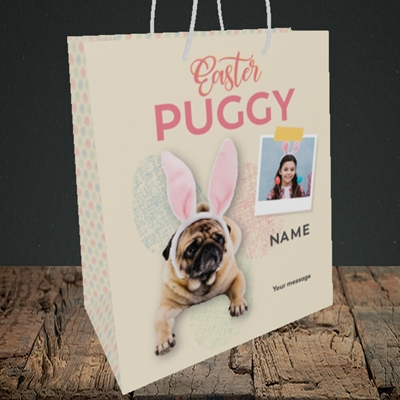Picture of Easter Puggy, Easter Design, Medium Portrait Gift Bag