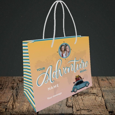 Picture of Adventure Begins, Leaving Design, Small Landscape Gift Bag