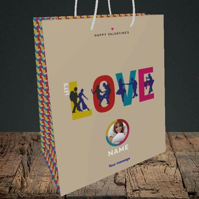 Picture of Let's Love Let's Dance, Valentine's Design, Medium Portrait Gift Bag