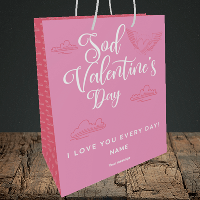 Picture of Sod Valentine's Day, (Without Photo) Valentine's Design, Medium Portrait Gift Bag