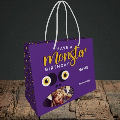Picture of Monster Face, Birthday Design, Small Landscape Gift Bag