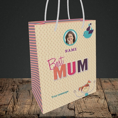 Picture of Best Mum, Small Portrait Gift Bag