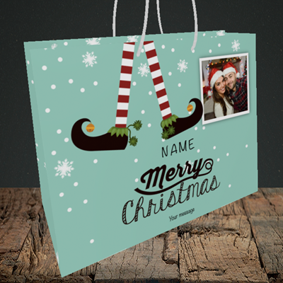 Picture of Elf, Christmas Design, Medium Landscape Gift Bag