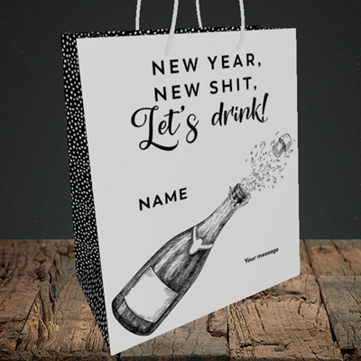 Picture of Let's Drink(Without Photo), New Year Design, Medium Portrait Gift Bag