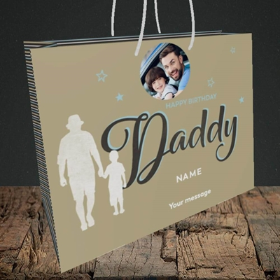 Picture of Daddy & Son, Birthday Design, Medium Landscape Gift Bag