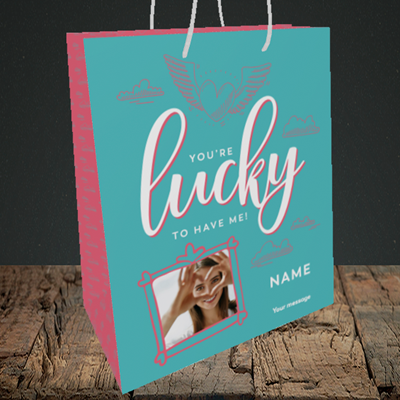 Picture of Lucky To Have Me, Valentine's Design, Medium Portrait Gift Bag
