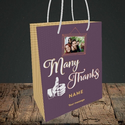 Picture of Many Thanks, Thank You Design, Small Portrait Gift Bag