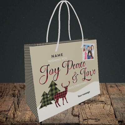 Picture of Joy Peace & Love, Christmas Design, Small Landscape Gift Bag