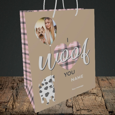 Picture of I Woof You, Valentine's Design, Medium Portrait Gift Bag