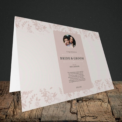 Picture of Floral Strip Edges - Beige To Pink B&G, Wedding Design, Landscape Greetings Card