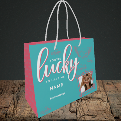 Picture of Lucky To Have Me, Valentine's Design, Small Landscape Gift Bag