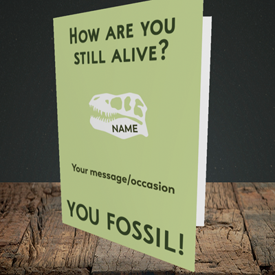 Picture of Fossil, (Without Photo) Birthday Design, Portrait Greetings Card