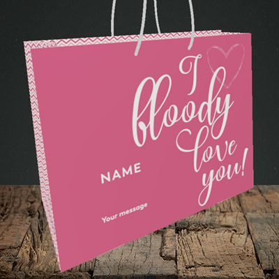 Picture of I Bloody Love You(Without Photo), Valentine's Design, Medium Landscape Gift Bag
