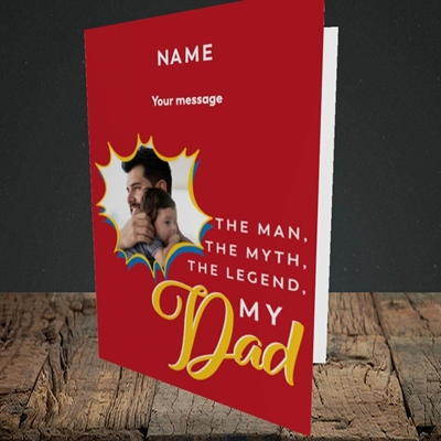 Picture of Man, Myth, Legend, Father's Day Design, Portrait Greetings Card