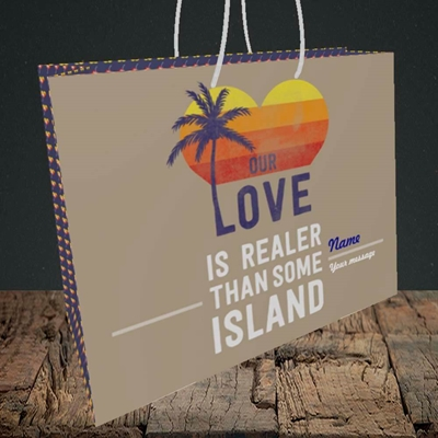 Picture of Our Love Is Realer(Without Photo), Valentine's Design, Medium Landscape Gift Bag
