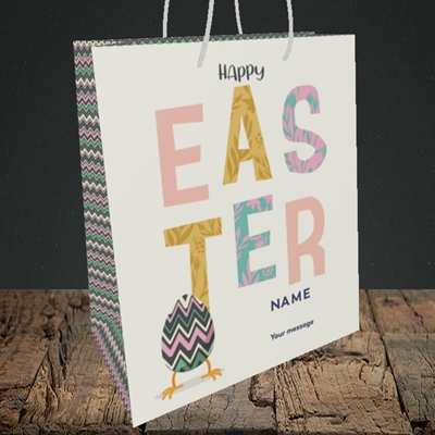 Picture of Happy Walking Egg(Without Photo), Easter Design, Medium Portrait Gift Bag