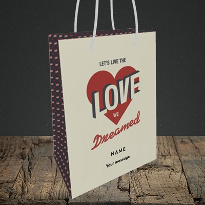 Picture of let's live the love (Without Photo), Valentine's Design, Small Portrait Gift Bag
