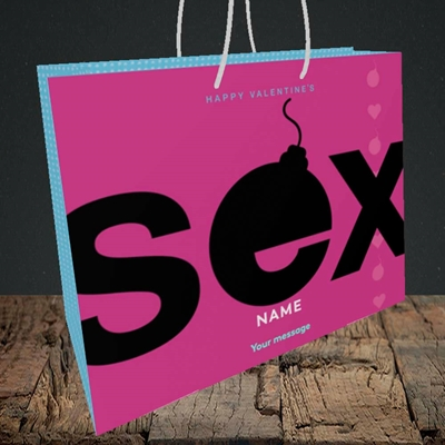 Picture of Sex Bomb - Pink(Without Photo), Valentine's Design, Medium Landscape Gift Bag