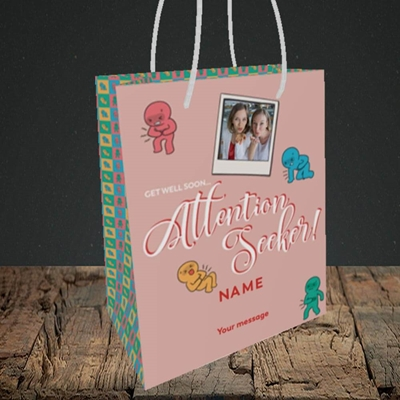 Picture of Attention Seeker, Get Well Soon Design, Small Portrait Gift Bag