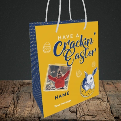 Picture of Crackin' Easter, Easter Design, Small Portrait Gift Bag