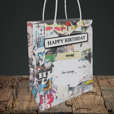 Picture of Graffiti, (Without Photo) Birthday Design, Small Portrait Gift Bag