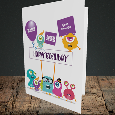Picture of Monster, (Without Photo and editable age) Birthday Design, Portrait Greetings Card