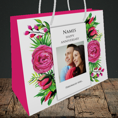 Picture of Flowers, Anniversary Design, Medium Landscape Gift Bag