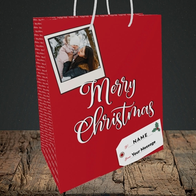 Picture of 2. A Merry Christmas Polaroid, Christmas Design, Medium Portrait Gift Bag