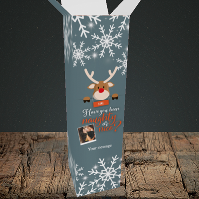 Picture of Naughty, Christmas Design, Upright Bottle Box