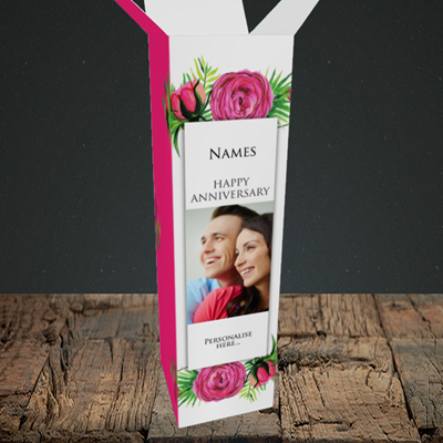 Picture of Flowers, Anniversary Design, Upright Bottle Box