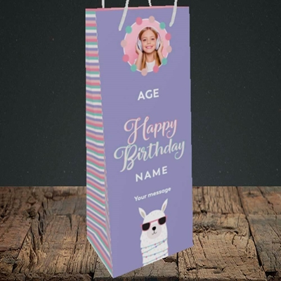 Picture of Cool Lama, Birthday Design, Bottle Bag