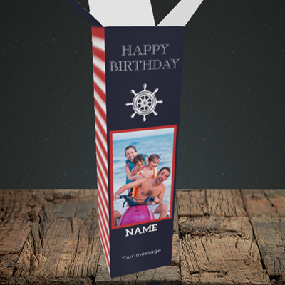 Picture of Nautical, Birthday Design, Upright Bottle Box