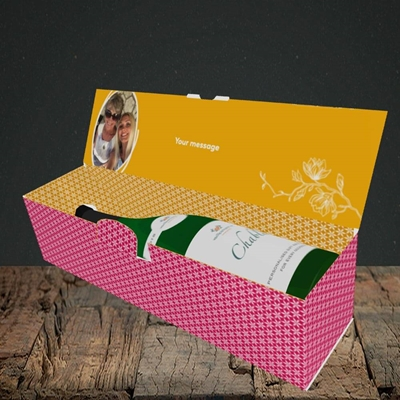 Picture of Flowers, Thank You Design, Lay-down Bottle Box