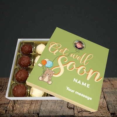 Picture of Bear with Balloons, Get Well Soon Design, Choc 16