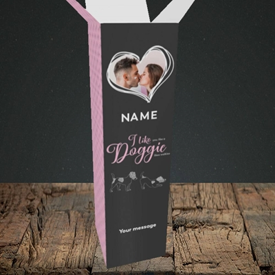 Picture of I Like Doggie, Valentine's Design, Upright Bottle Box