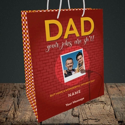 Picture of Dad Jokes, Father's Day Design, Medium Portrait Gift Bag