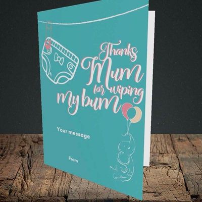Picture of Wiping My Bum(Without Photo), Mother's Day Design, Portrait Greetings Card