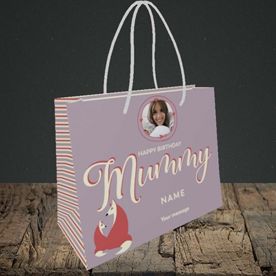 Picture of Foxes Mummy, Birthday Design, Small Landscape Gift Bag