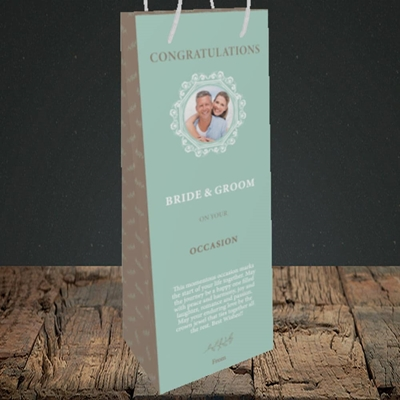 Picture of Traditional Foliage Teal B&G, Wedding Design, Bottle Bag