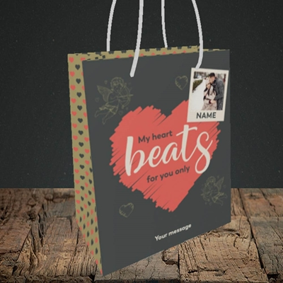 Picture of Beats For You, Valentine's Design, Small Portrait Gift Bag