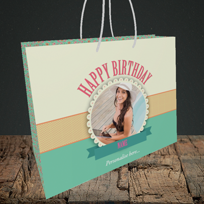 Picture of Roses, Birthday Design, Medium Landscape Gift Bag