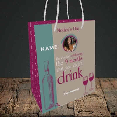 Picture of Didn't Drink, Mother's Day Design, Small Portrait Gift Bag