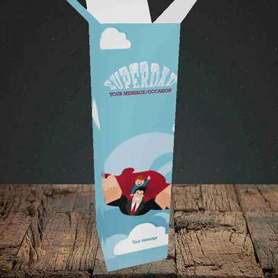 Picture of Superdad,(Without Photo) Father's Day Design, Upright Bottle Box