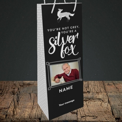 Picture of Silver Fox, Birthday Design, Bottle Bag