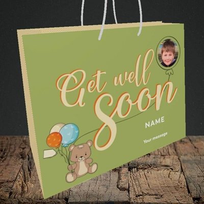 Picture of Bear with Balloons, Get Well Soon Design, Medium Landscape Gift Bag