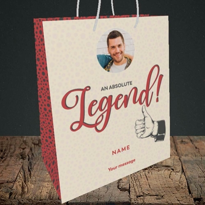 Picture of Absolute Legend, Thank You Design, Medium Portrait Gift Bag