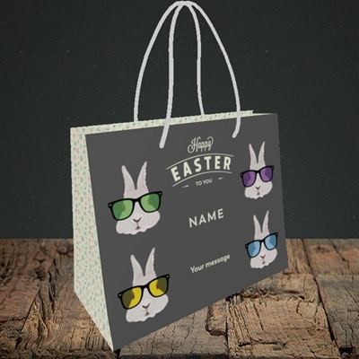 Picture of Hipster Bunnies(Without Photo), Easter Design, Small Landscape Gift Bag